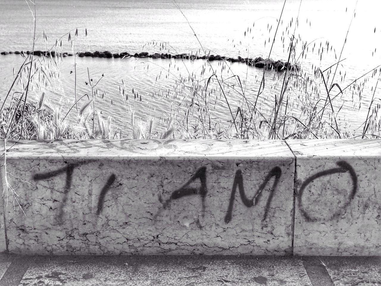Tiamo Iloveyou Scritta Segno Graffiti Mare Lungomare Sea Sign Written Message