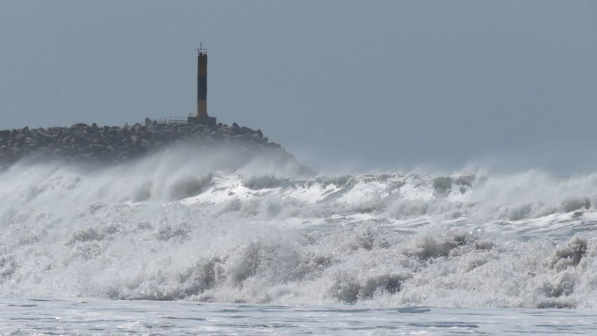 Beach Buenos Aires, Argentina  Day Escollera Faro Lighthouse Necochea. Argentina No People Outdoors Sea Travel Destinations Water Waves Waves And Rocks Waves Crashing Wind