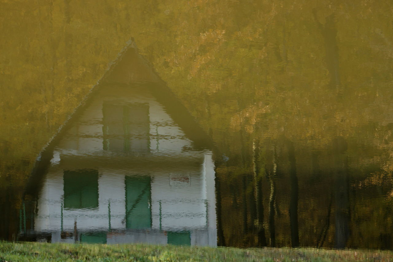Autumn Forest Hiking House House In The Forest Mirrored Mirrored House Mirrored Image Mirrored Reflection Reflection Reflection In The Water Reflections Trekking Trip