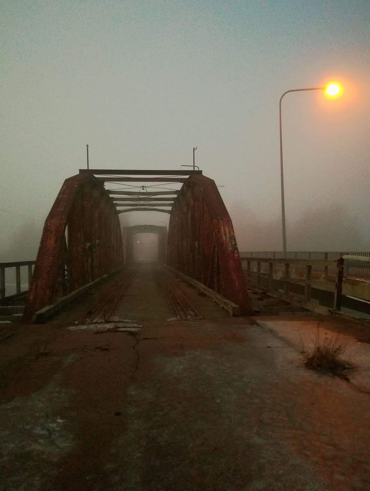 Bridge - Man Made Structure No People Outdoors Iron Bridge Railway Bridge Old Bridge Foggy Weather Architecture Abandonedplaces Halla Finland Industrial Abandoned_junkies Past Local History Ruins By The Sea Fog Built Structure Rust See Through Exploring Light And Shadow Streetlamp Railway Track