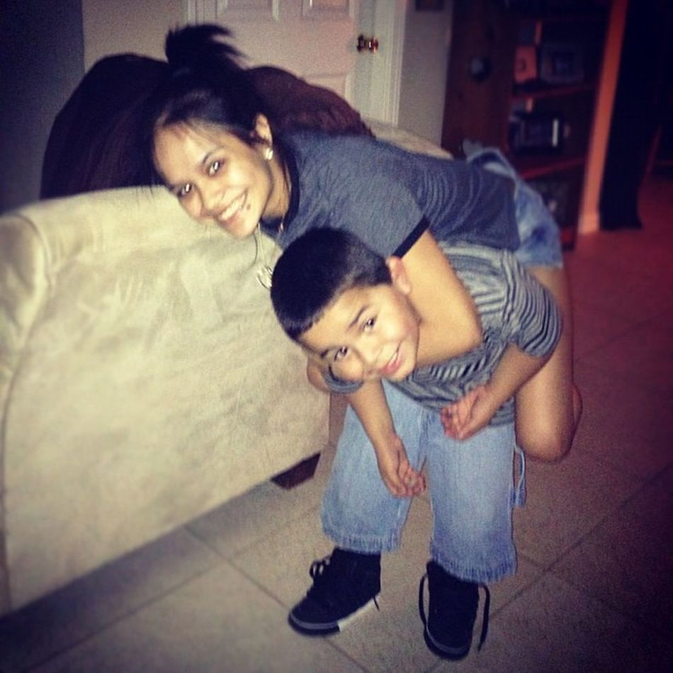 My little 4yr old nephew can carry me (: ilovehim. Auntmode Isaias