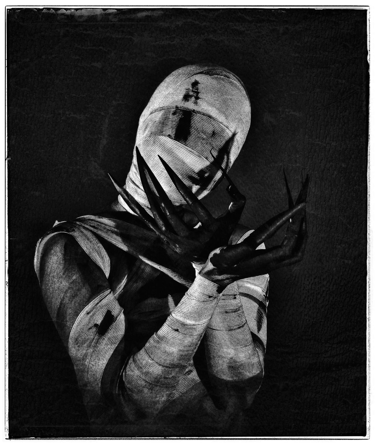 Monster Monster Creepy Self Portrait Blood Long Nails Black & White Bands Grunge