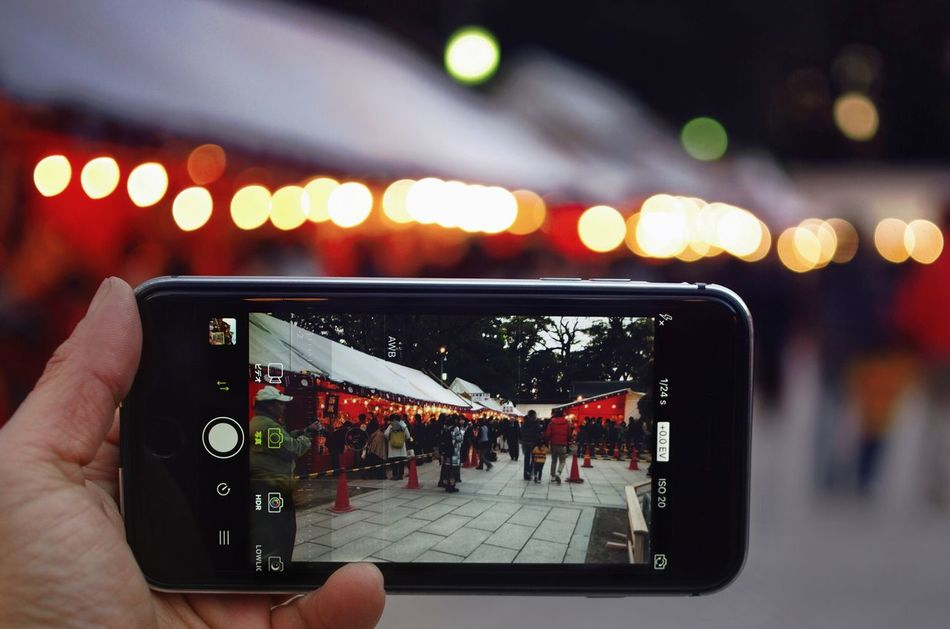 Mobile Phone Smart Phone Technology Close-up Night Illuminated Bokeh Shrine Light And Shadow Japan Taking Photos Streetphotography