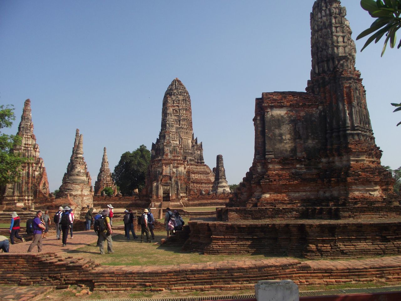 TOURISTS IN FRONT OF TEMPLEs AGAINST CLEAR SKY