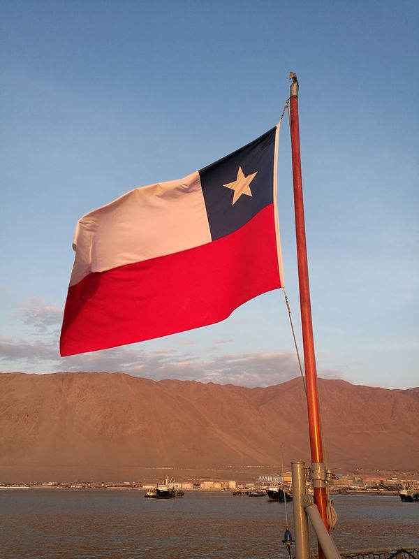 Mi national flag Chile Chile♥ Flag Flags Patriotism Sunset Day Outdoors Sky Bandera De Chile No Edit Desert Desert And Sea Iquique No Filter, No Edit, Just Photography Tarapaca North Of Chile HuaweiP9 Huaweiphotography Flag In The Sky Sunset Flag National Flag No People Flagship Flag In The Wind