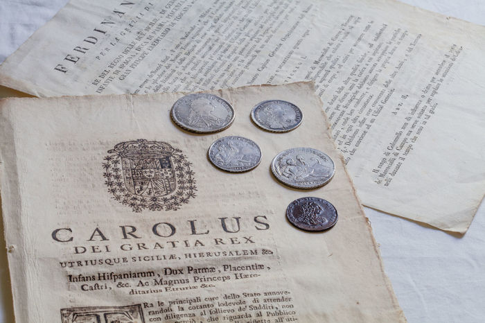 ancient coins from Naples Kingdom, burbon kings 1700's Ancient KINGDOM Naples Past XVIII Century Coin Collection Coins Collectibles Collection Copper  Engraving History Naples Kingdom Numismatic Paper Silver