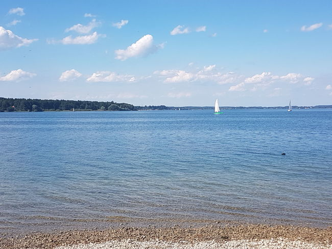 Sea Beach Horizon Over Water Nautical Vessel Vacations Day Cloud - Sky Outdoors Landscape Sailboat Water Beauty In Nature Nature Sky Chiemsee