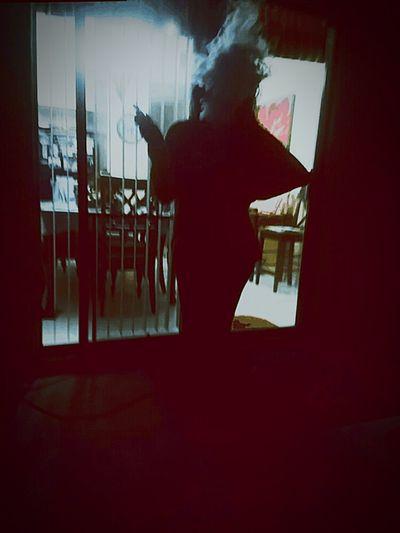 Window One Person One Woman Only Dark People Silhouette Full Length Night Smoke Smoking Vape Vapeclouds Cloudy Girl Smoking