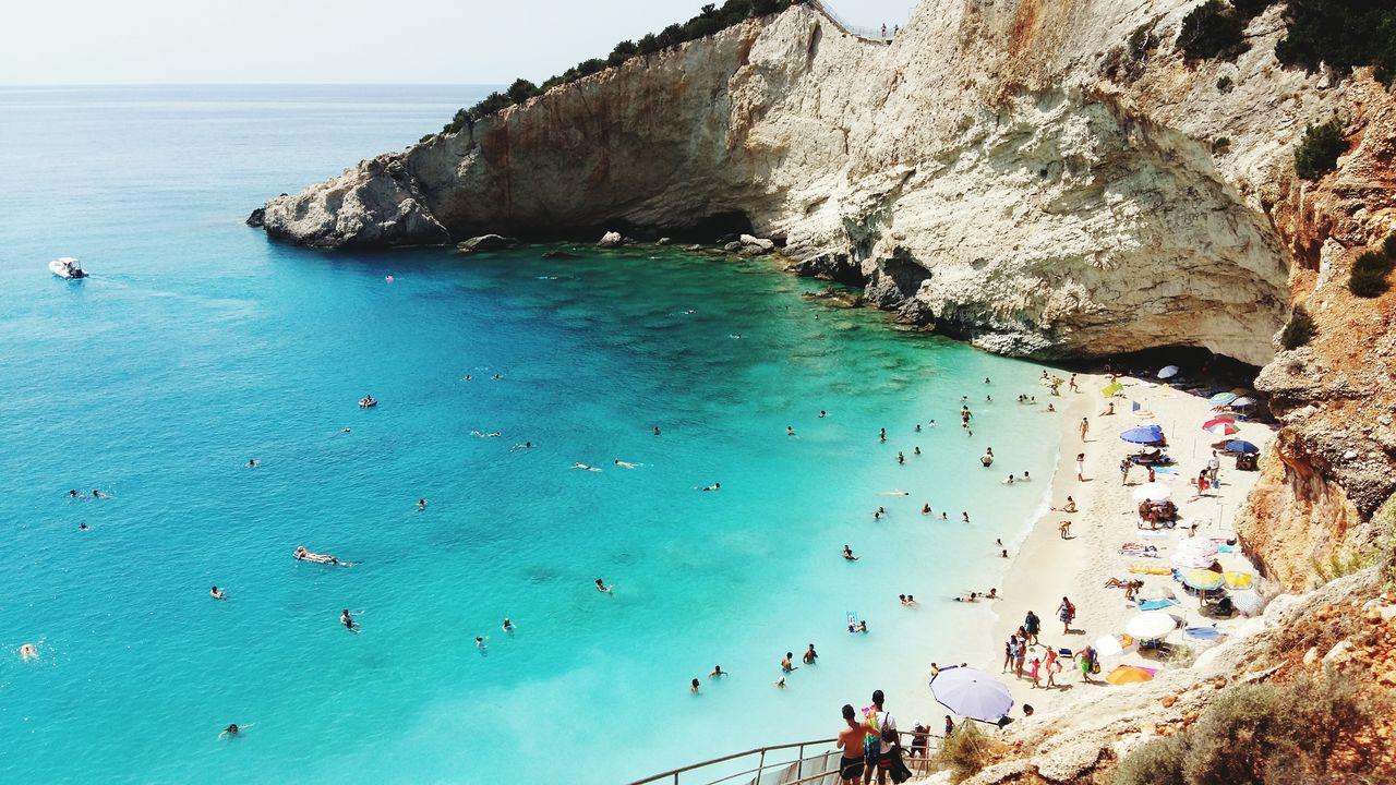 Beautiful stock photos of portugal, Beach, Beach Umbrella, Beauty In Nature, Cliff