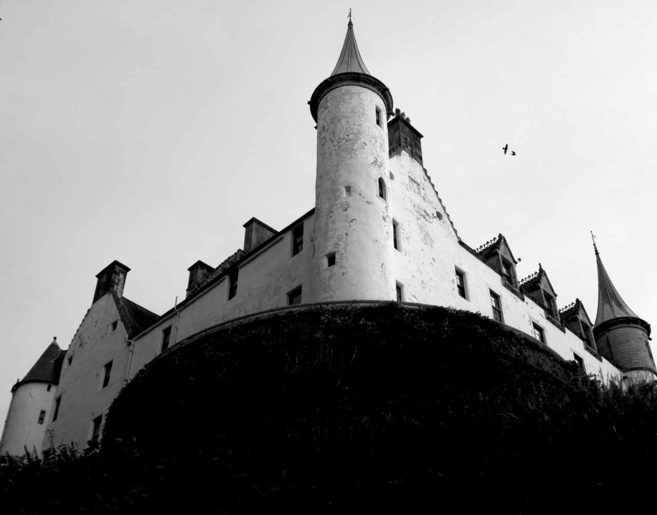 Architecture Built Structure Building Exterior History No People War Day Low Angle View Outdoors Sky Military Castle Historical Buildings Travel Photography Copy Space Non-urban Scene Scotland Black And White Black And White Photography Vacations Travel Destinations Dunrobin Castle Defiance