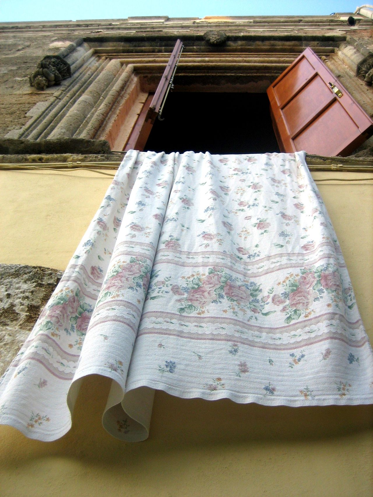 Daily routine Blinds Greece Open Window Rhodes Rhodos Tablecloth Typical Wall Window