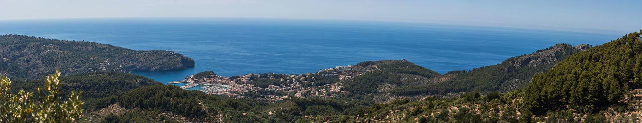 Panoramic views of the bay of Port de Soller, Mallorca in Spain. Balearic Bay Harbor Coast Mallorca Mediterranean Natural World Sea Soller Puerto