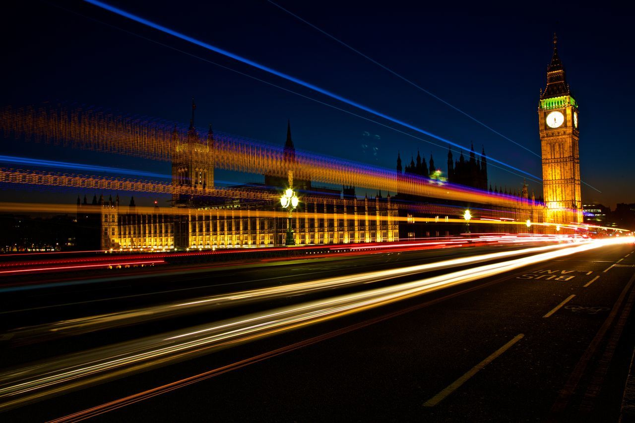 Blurred Motion Bridge - Man Made Structure City Clock Clock Tower Illuminated Light Trail Lights In The Dark London Buses Long Exposure Night No People Speed Traffic Transportation Travel Destinations Westminster Bridge Road First Eyeem Photo