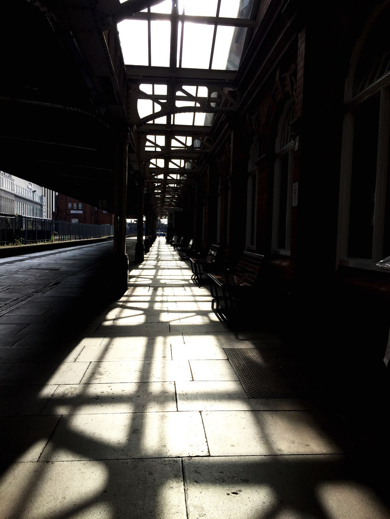 Trainstation Shadow Sunlight Architecture Light And Shadow Morning Day Indoors  Built Structure The Way Forward Window No People Architectural Column Daylight