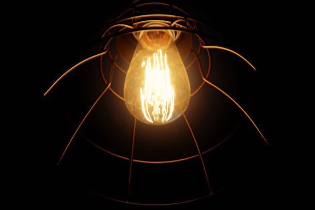 Black Background Bulb Burning Close-up Dark Darkroom Eddison Fixture Glowing Home Decor Illuminated Lamp Light Light Bulb Light Fixture Lines Night No People Steampunk