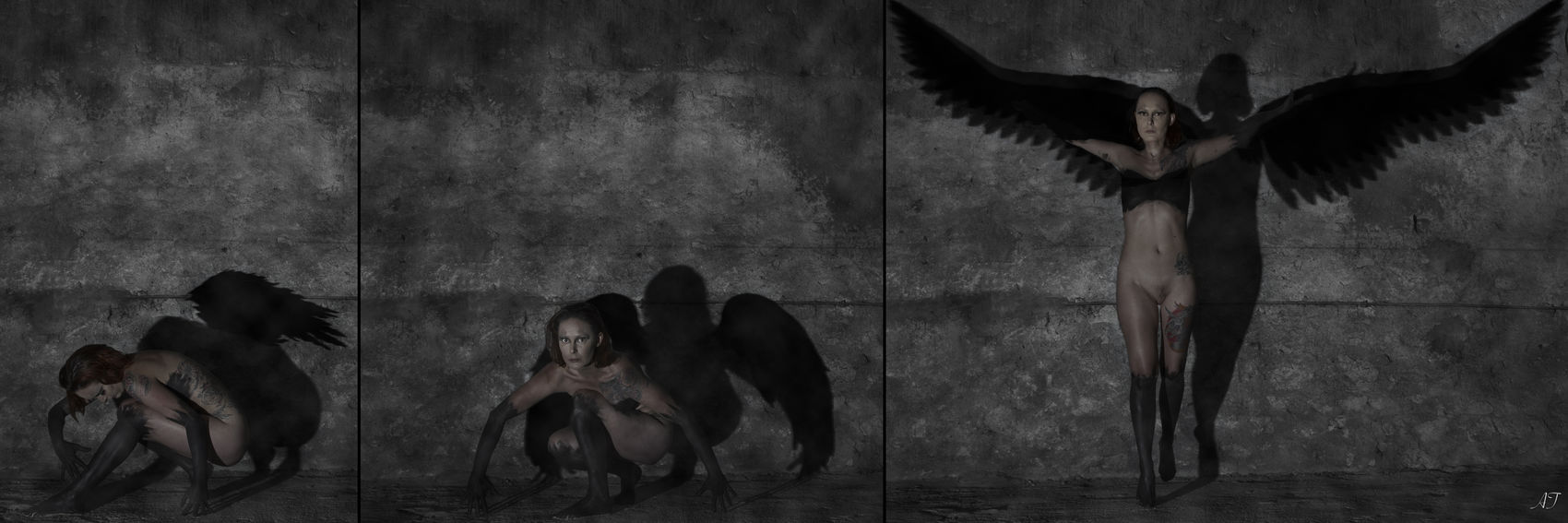 Adult Adults Only Angel Dark Indoors  Looking Night Real People Standing Triptych Woman Young Adult