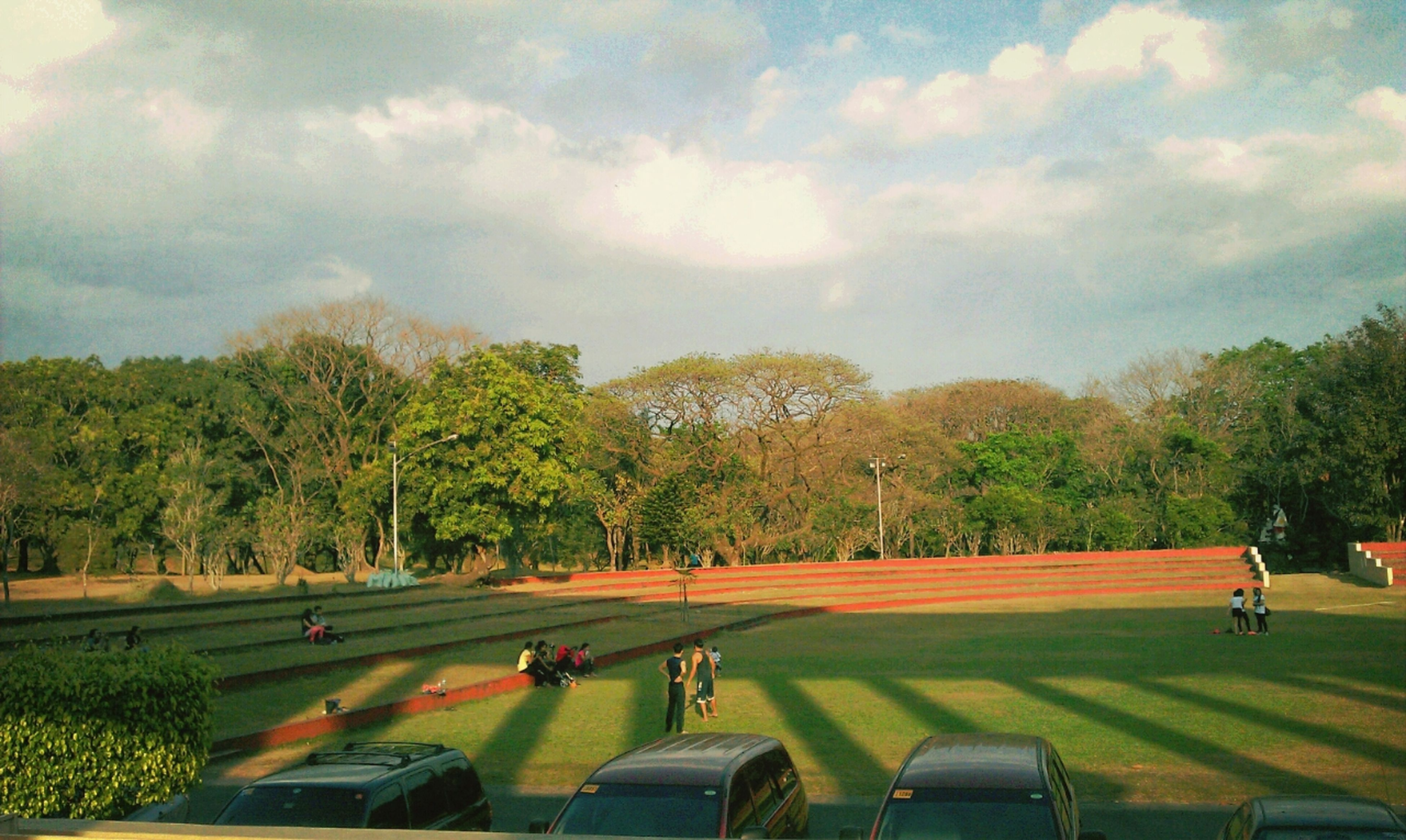 tree, grass, sky, cloud - sky, green color, large group of people, park - man made space, leisure activity, growth, lifestyles, men, park, cloud, person, nature, cloudy, landscape, tranquility, field