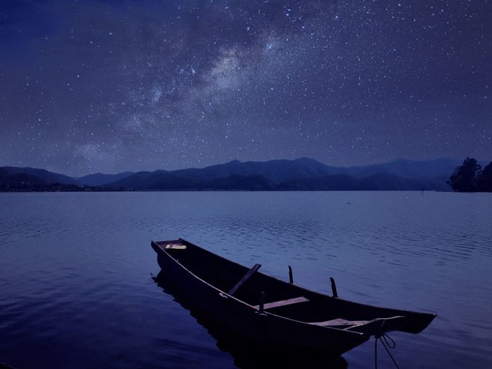 Night Star - Space Nautical Vessel Reflection Sky Nature Galaxy Abandoned Lake Scenics Tranquility Mountain Beauty In Nature Landscape Astronomy Blue Milky Way Outdoors Moon Constellation