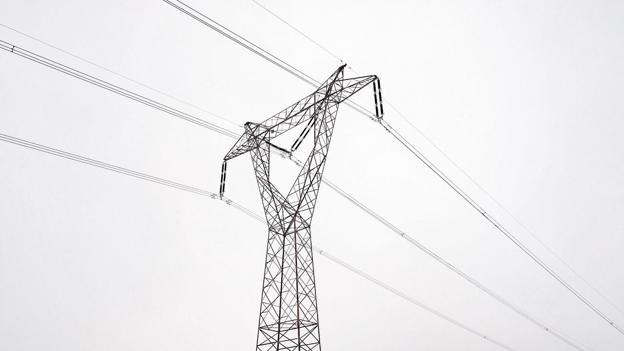 Cable Day Electricity  Electricity Pylon Fuel And Power Generation Industry Iron - Metal Low Angle View No People Outdoors Power Line  Power Supply Silhouette Sky White White Background Winter