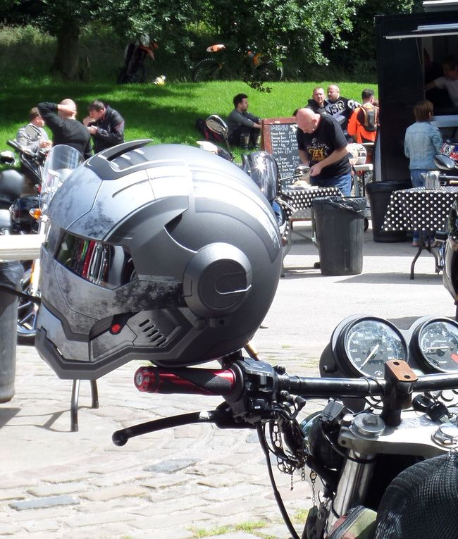 Close Up Grey Colour Incidental People. Men Mode Of Transport Motor Vehicle Motorcycle Motorcycle Helmet Outdoors Outdoors. Person Side View Transportation Weekend Activity.