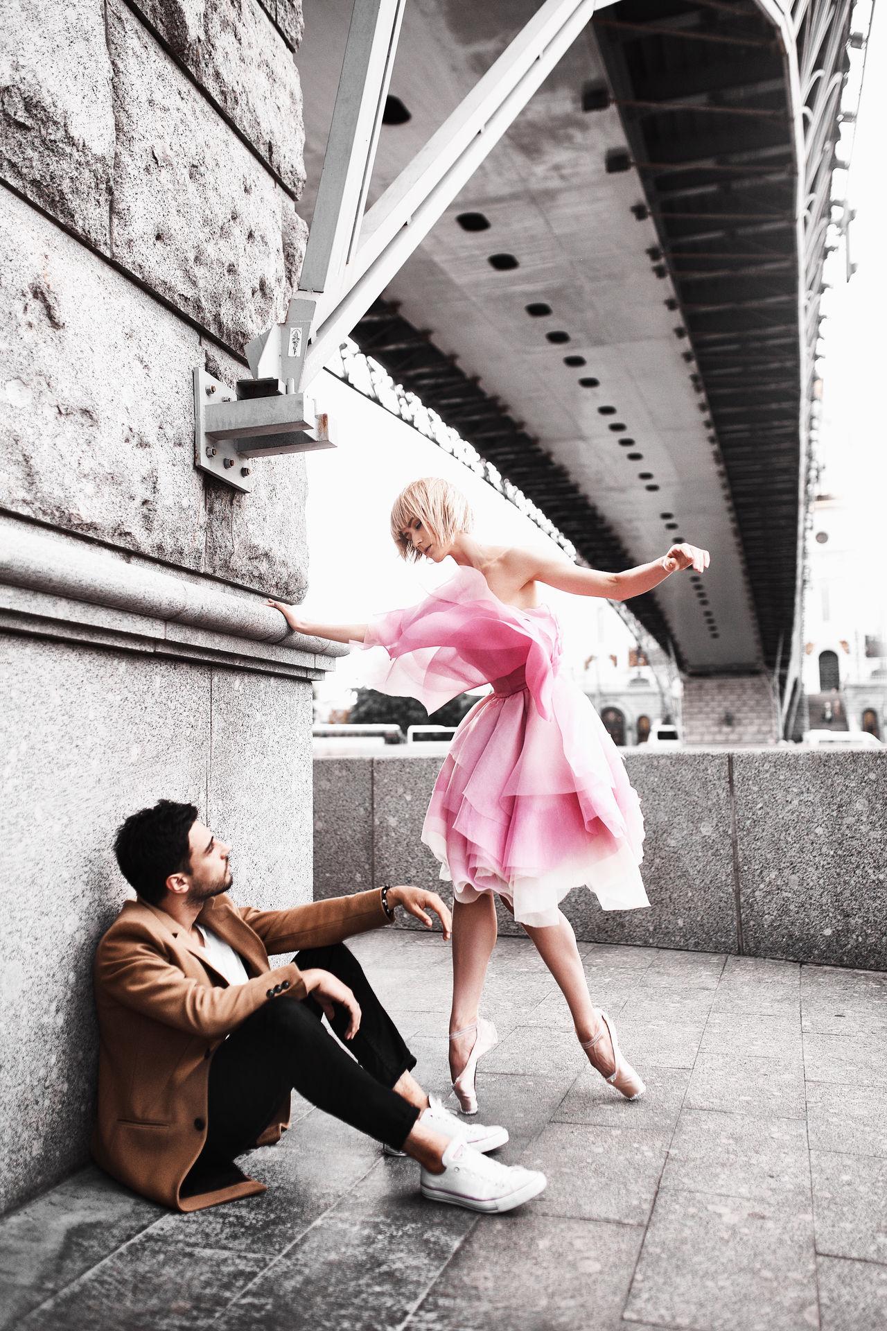 Angel Bridge Coat Day Dence Dress Fashion Friendship Love Men People Red Dress Two People Young Women Москва мост