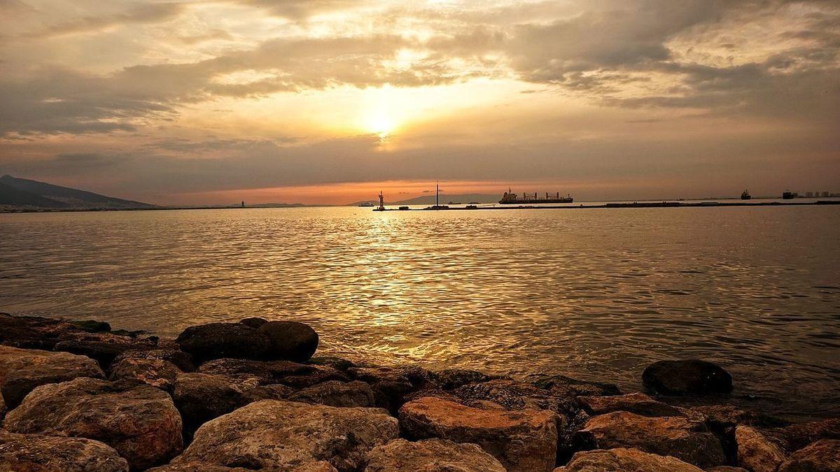 Sunset Sea Landscape Water Sunlight Water Reflections Harbor Konak Izmir ❤ Ciao A Tutti