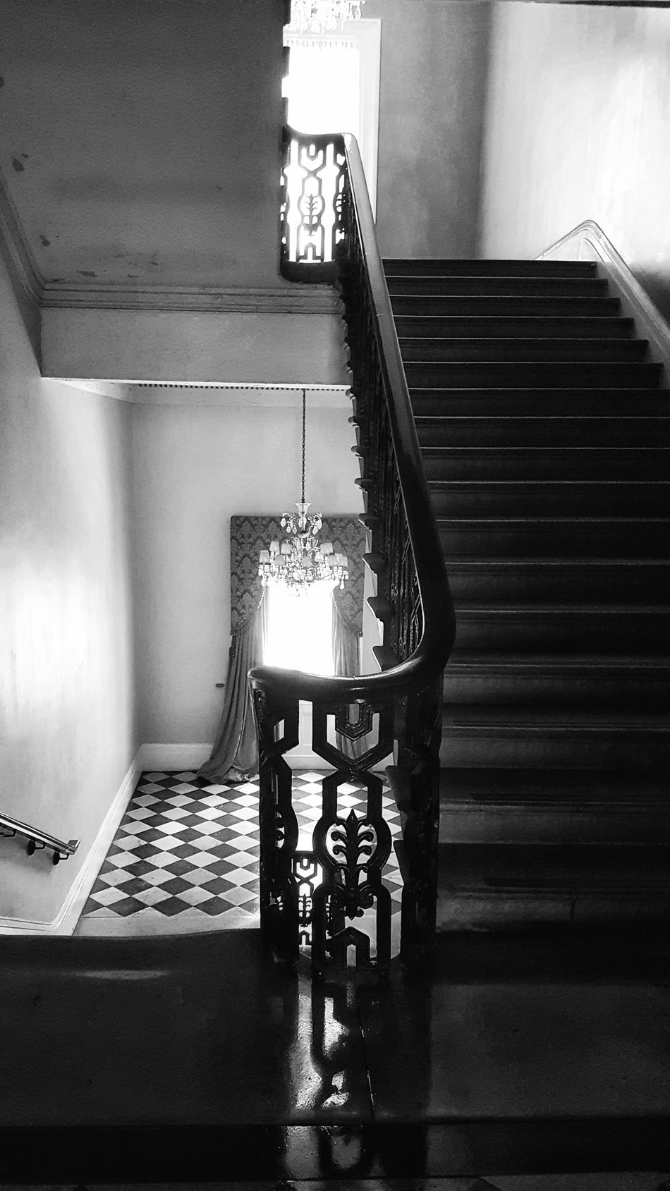 Taking Photos Check This Out Old New Orleans Black & White New Orleans Black And White Photography Vintage Building Stairs_collection Gallier Hall 2nd Floor Chandeliers Window Light Floors Patterns Marble Stairs