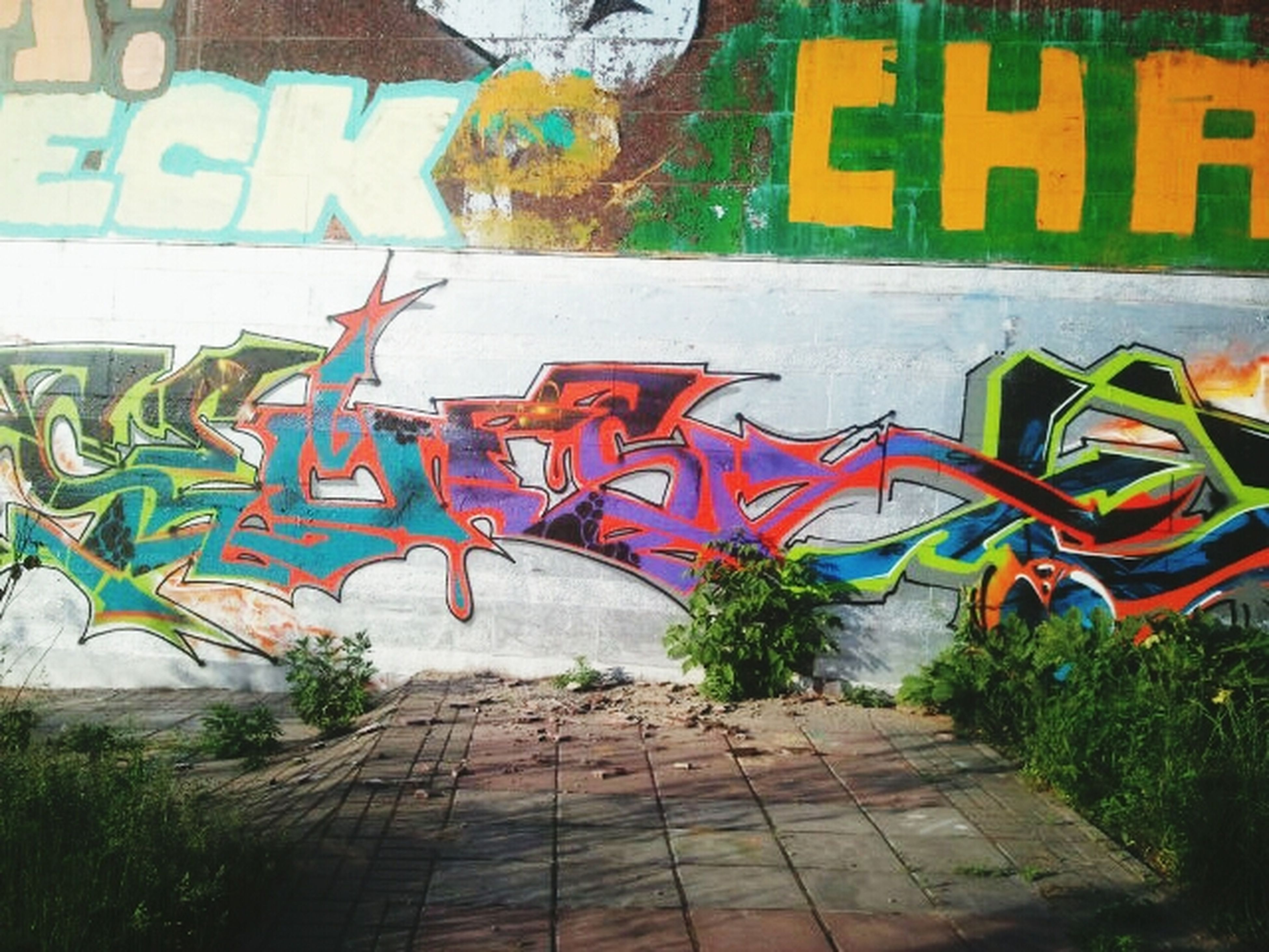 graffiti, art, art and craft, built structure, creativity, architecture, multi colored, wall - building feature, building exterior, text, street art, western script, day, outdoors, human representation, tree, no people, wall, mural, communication