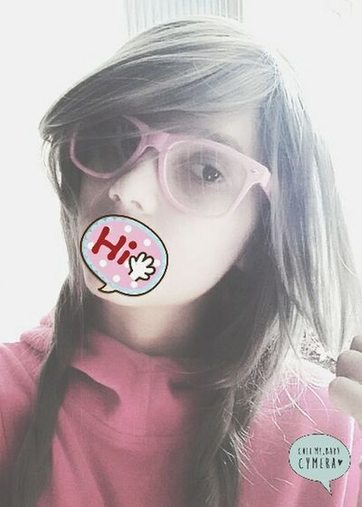 Hi! That's Me Hello World Cheese! Cute♡ Pink Glasses Girl Hairstyle Cycamera