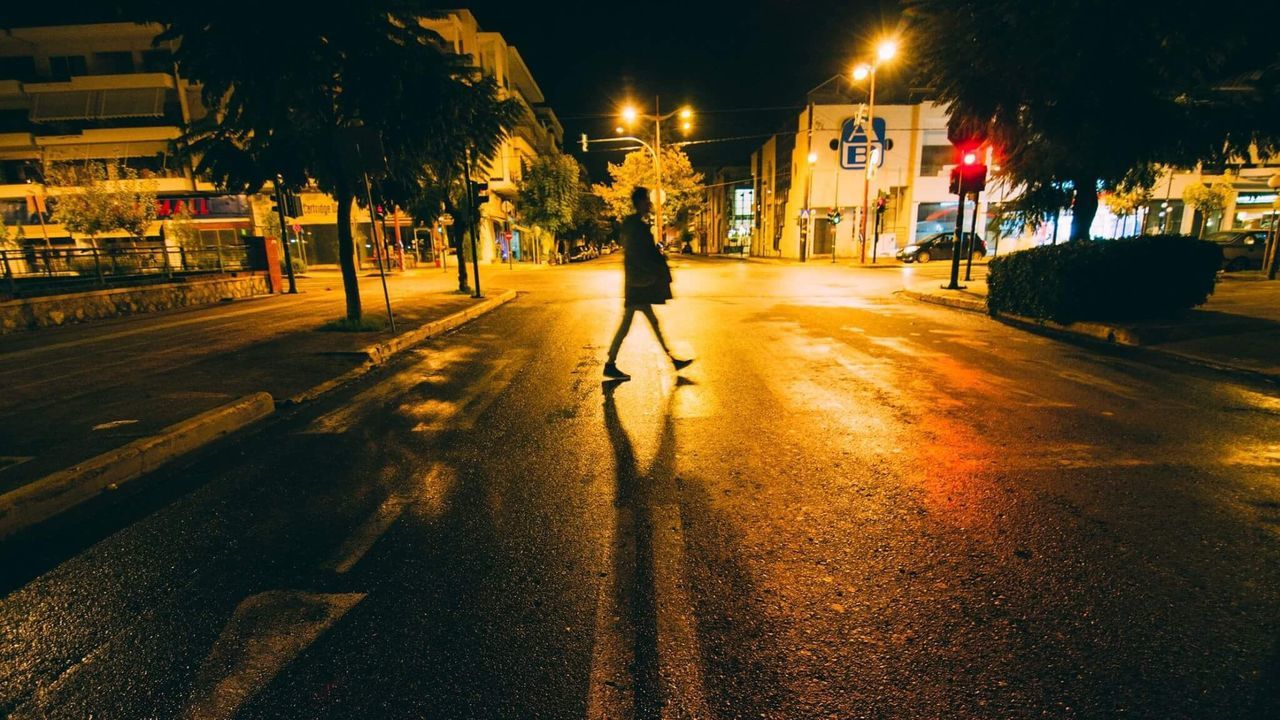 Street City Street Light Outdoors One Person Night Crossroad Kalamata Shadow