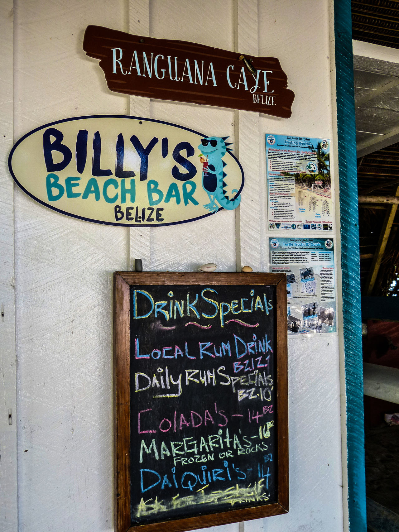 Beach Bar Billy's Beach Bar Blue Close-up Day Directional Sign Information Information Sign Menu Board No People Outdoors Ranguana Caye Sign Signboard Text Western Script Belize  Travel Photography Travel Travel Destinations