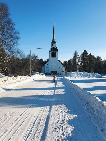 Road to church Kuusamo Church Kicksled Kicksledge Sleigh Sled Sledge Winter Snow Wintertime Road Snow Covered Finland Old Times Retro Vintage Wedding Guest Vehicle Depth White Color Architecture Building Exterior Clear Sky Perspective