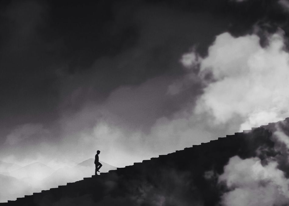 Beautiful stock photos of silhouette, Ambition, Cloud - Sky, Day, Heaven