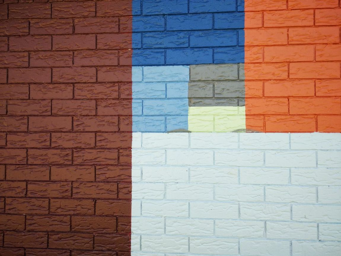 Brick Wall Architecture Built Structure Backgrounds Textured  Full Frame Wall - Building Feature Close-up Blue Brick Geometric Shape Multi Colored Day Rectangle No People Contrasts AdamTurnerPhotography