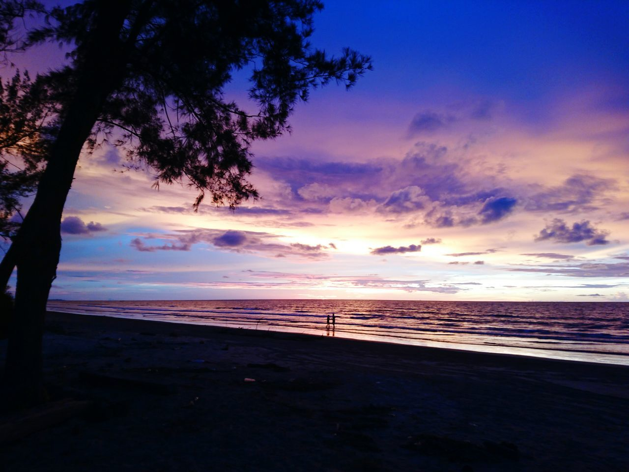 Lovers In The Background Enjoying The Sunset Once In A Lifetime Walking Hand In Hand Sunset Colors Purple Sky Golden Hour Beach Photography From The Eyes Of A Solo Traveller Forever Alone Dramatic Sky Landscape Romantic Sky From My Point Of View Tree Silhouette Taken From Sony Xperia Z5 Dusk Colours This Week On Eyeem EyeEm Best Shots - Nature December 2016 EyeEm Best Shots