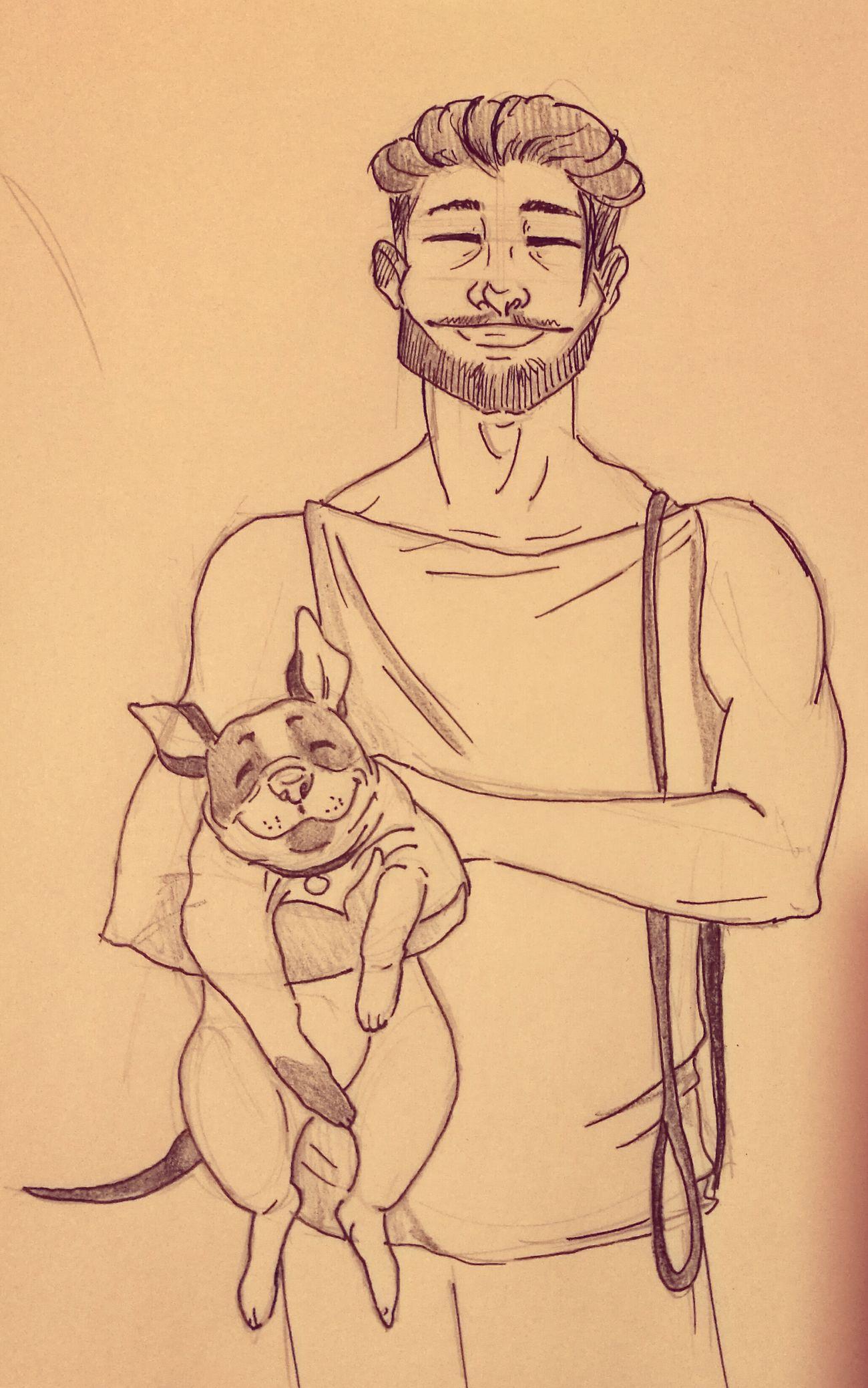 <3 Men Pencil Drawing Draw Art Ilustration Pet Dog