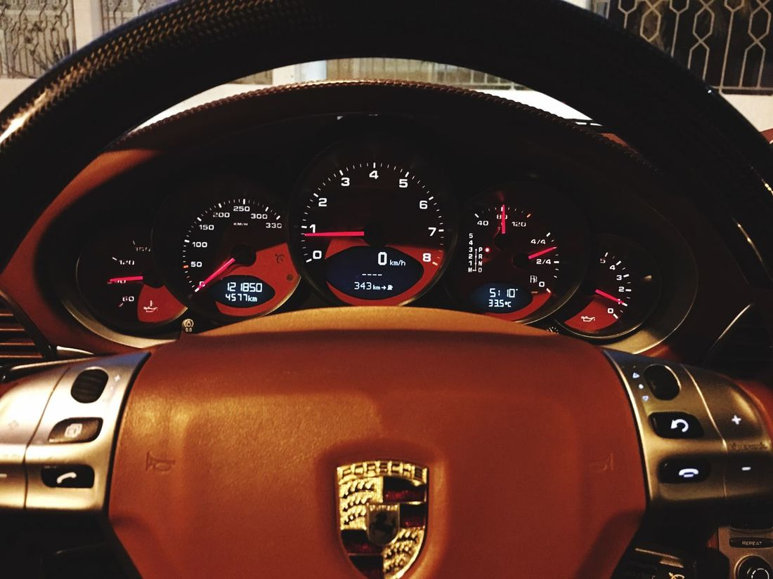 Car Dashboard Speedometer Car Interior Vehicle Interior Windshield Parked Porsche Porsche 911 IPhoneography Internet Addiction Vehicle IPhone Photography Red Carrera4s