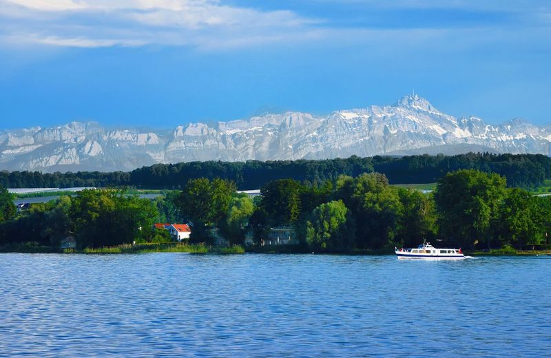 Tree Mountain Transportation Mode Of Transport Nature Nautical Vessel Water Day Waterfront Outdoors Scenics Sky No People Blue Beauty In Nature Tranquil Scene Lake Bodensee Bergpanorama Säntis Schifffahrt Bodenseebilder