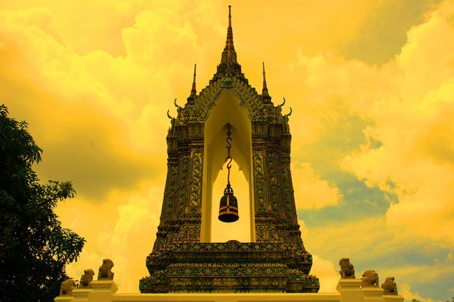 He is coming Architecture Bell Buddhist Temple Building Exterior Built Structure EyeEm Thailand Famous Place God Low Angle View Religion Sky And Clouds Sky_collection Spirituality Statue The Bell  Tourism Travel Destinations Waiting For The Bell Spotted In Thailand The Architect - 2016 EyeEm Awards The Great Outdoors With Adobe 43 Golden Moments