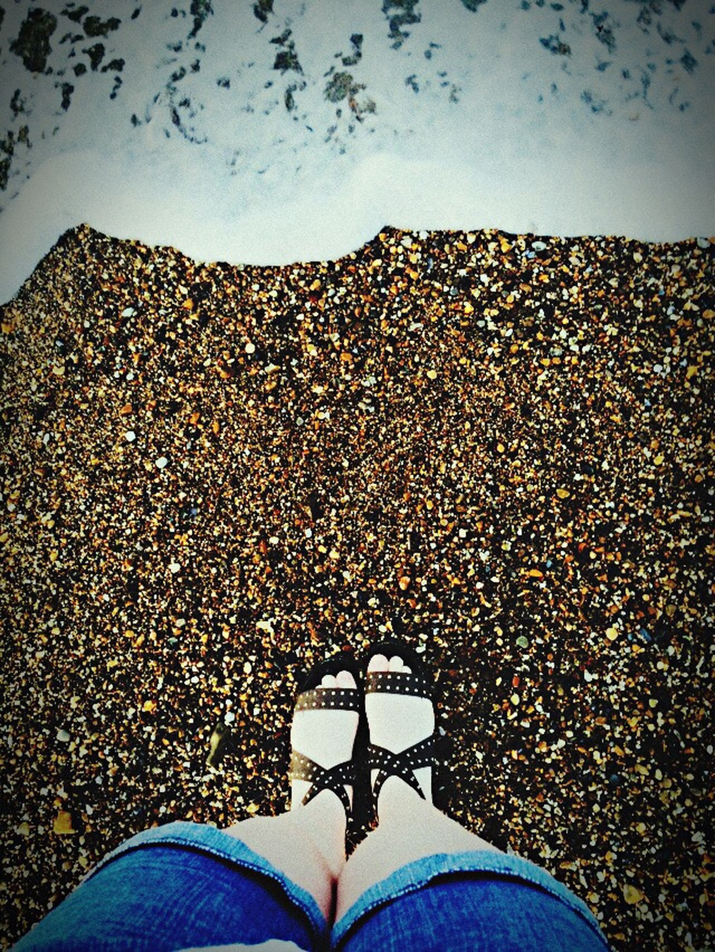 low section, real people, personal perspective, human leg, shoe, human body part, lifestyles, standing, one person, leisure activity, sky, outdoors, day, close-up