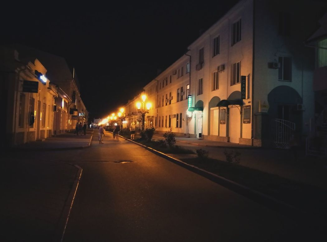 Architecture Built Structure Night City Life City Street Street Light Dark City Empty Road Old Town Street Feodosia