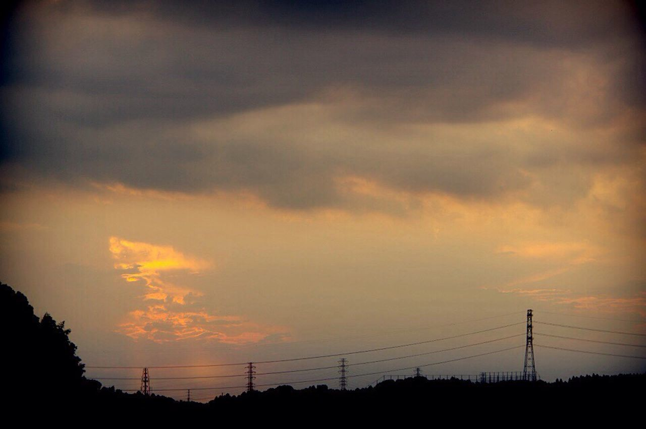 silhouette, sunset, cloud - sky, connection, sky, cable, no people, electricity pylon, power line, scenics, beauty in nature, nature, power supply, tranquil scene, tranquility, tree, electricity, outdoors, technology, telephone line, day