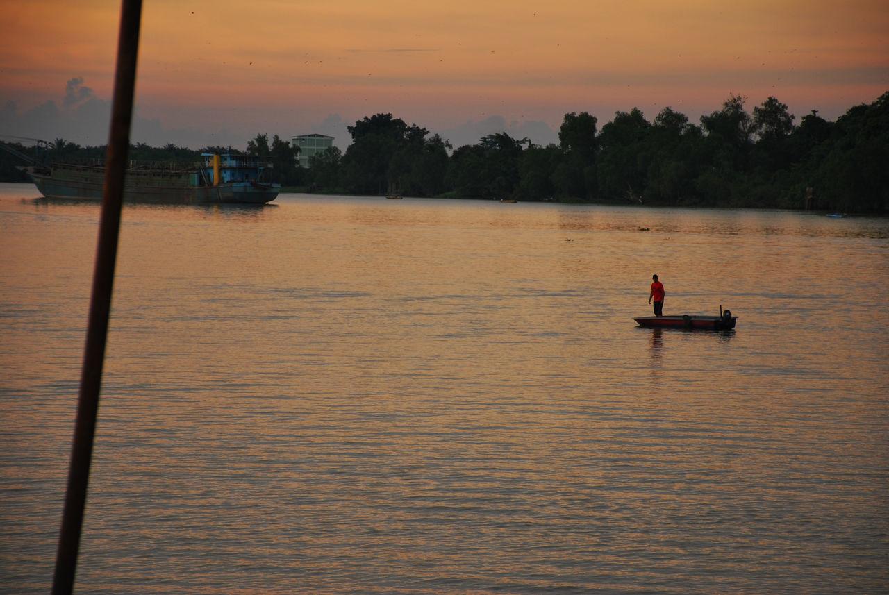 Fishing till sun down Boat Scenics Calm Dusk Beauty In Nature Teluk Intan River