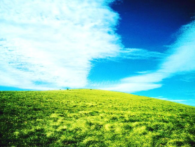 Beauty In Nature Cloud Field Green Hill Landscape Nature Outdoors Tranquil Scene