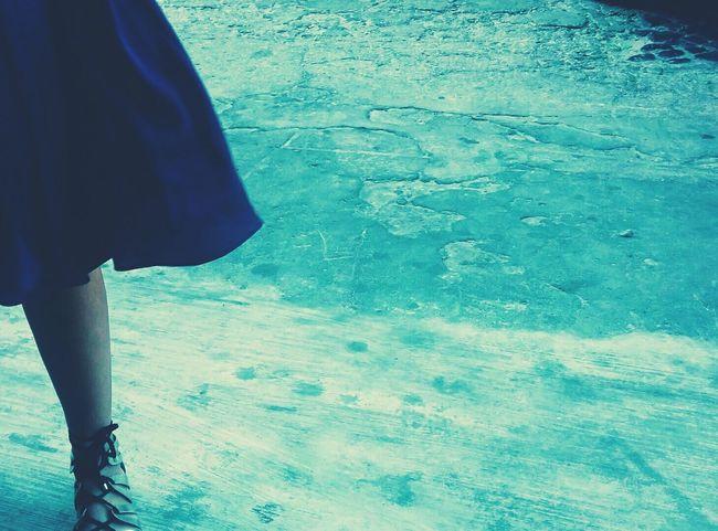 Blue Skirt Blue Walking Around Taking Photos