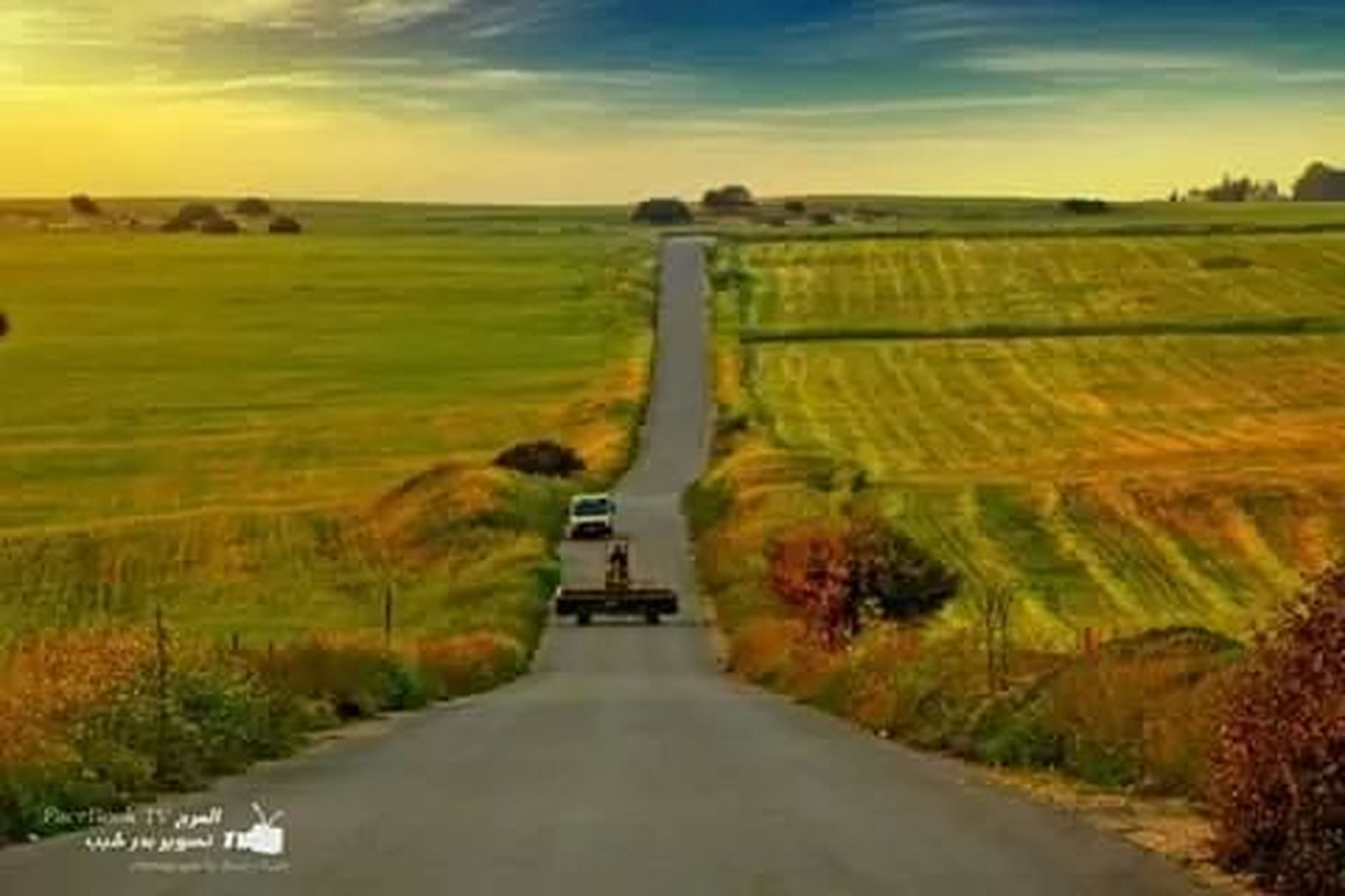 the way forward, road, sky, landscape, tranquility, transportation, sunset, tranquil scene, field, diminishing perspective, country road, grass, scenics, beauty in nature, nature, tree, vanishing point, cloud - sky, rural scene, plant