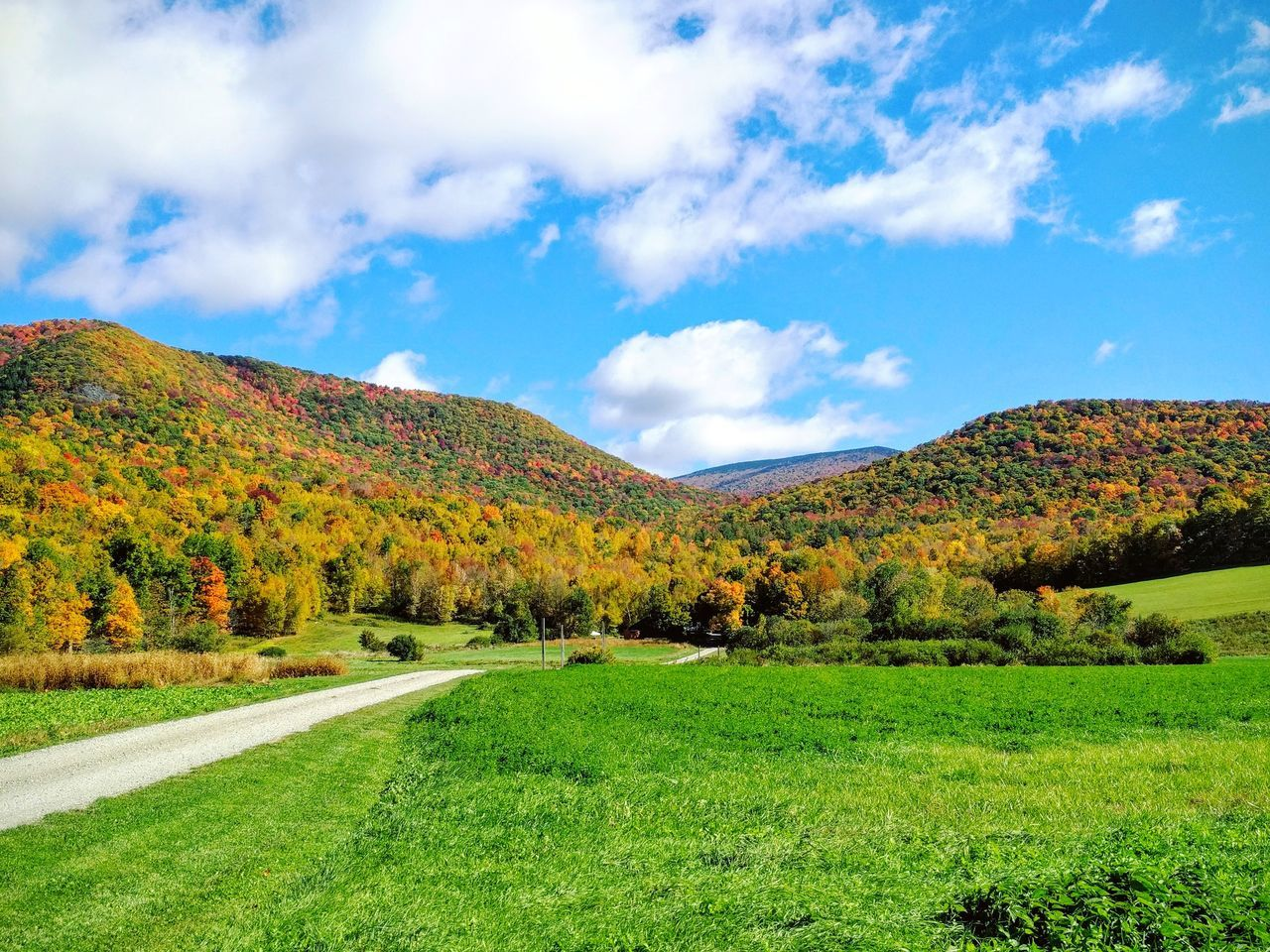 Sky Blue Grass Landscape Cloud - Sky Nature Green Color Outdoors No People Beauty In Nature Day Vermont Vermont_tourism Hills Fall Colors