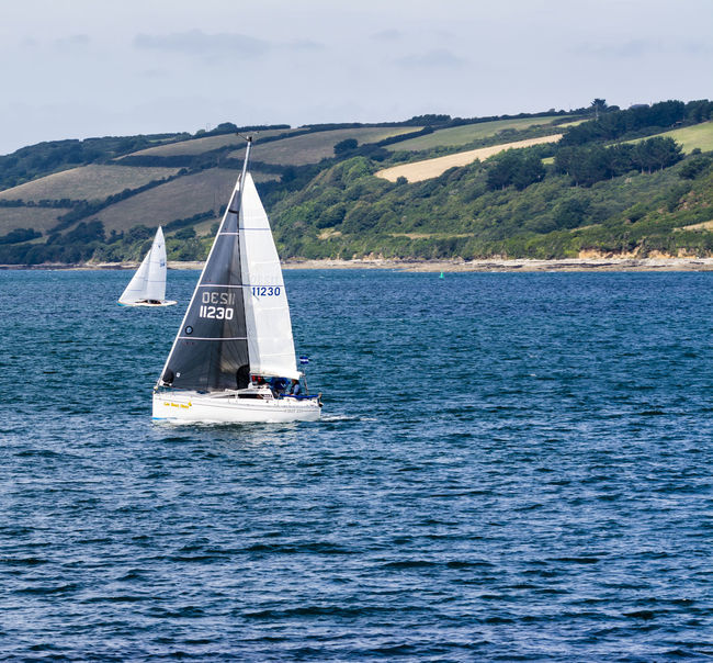 Beauty In Nature Blue Blue Wave Boat Canvas Cornwall Falmouth Idyllic Non-urban Scene Outdoors Regatta Rippled Sailboat Sailing Scenics Sea Sky Tranquil Scene Tranquility Transportation Water Waterfront