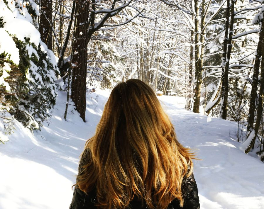 Tree Long Hair Cold Temperature Lifestyles Winter Snow Human Hair Warm Clothing Nature People Outdoors Photographing Forest Beauty In Nature German Scenics Mountain Deutschland Bayern Bavaria Alpen Winter Travel Photographer Germany EyeEmNewHere