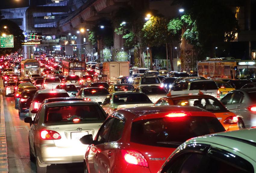 night scene of traffic jam in Bangkok Light Rush Hour Traffic Jam Vivid Car City Colorful Illuminated Land Vehicle Mode Of Transport Night Nightscene Transportation